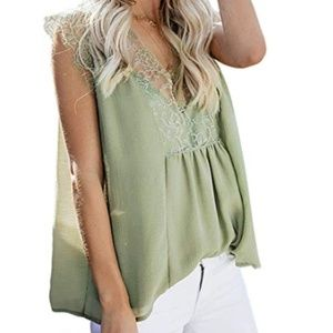 Crochet Lace Sleeveless Loose Fitting Tunic Top